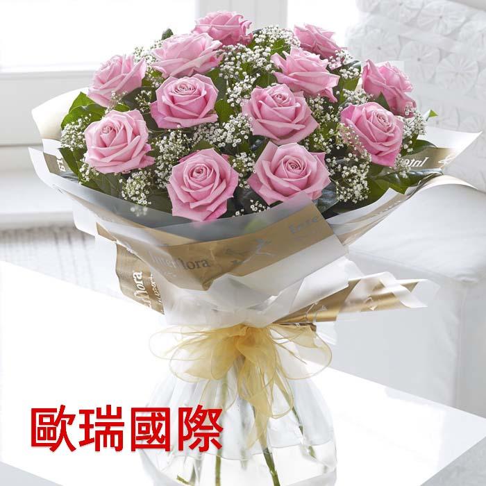 12支粉玫瑰花束 欧盟 俄罗斯鲜花速递