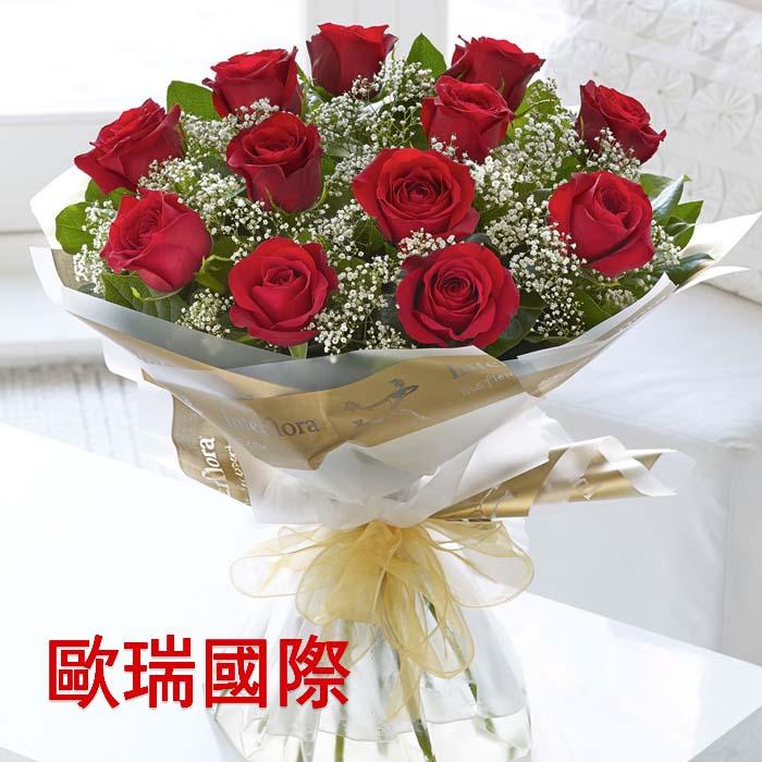 12支红玫瑰花束 欧盟 俄罗斯送花 花店直送 保证时效