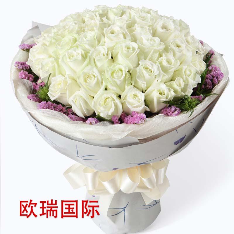 51支白玫瑰花束 马来西亚送花 泰国 越南 菲律宾 新加坡 印尼 菲律宾 印度 巴基斯坦 国际送花