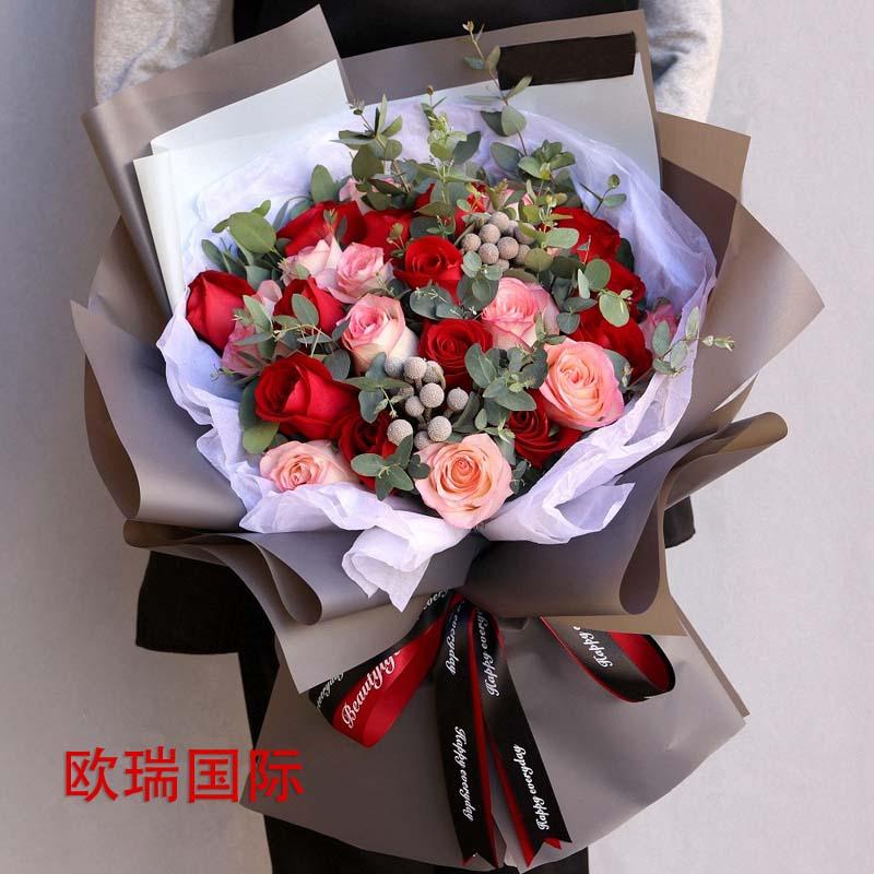 18红+18粉玫瑰花束 欧盟 俄罗斯鲜花配送