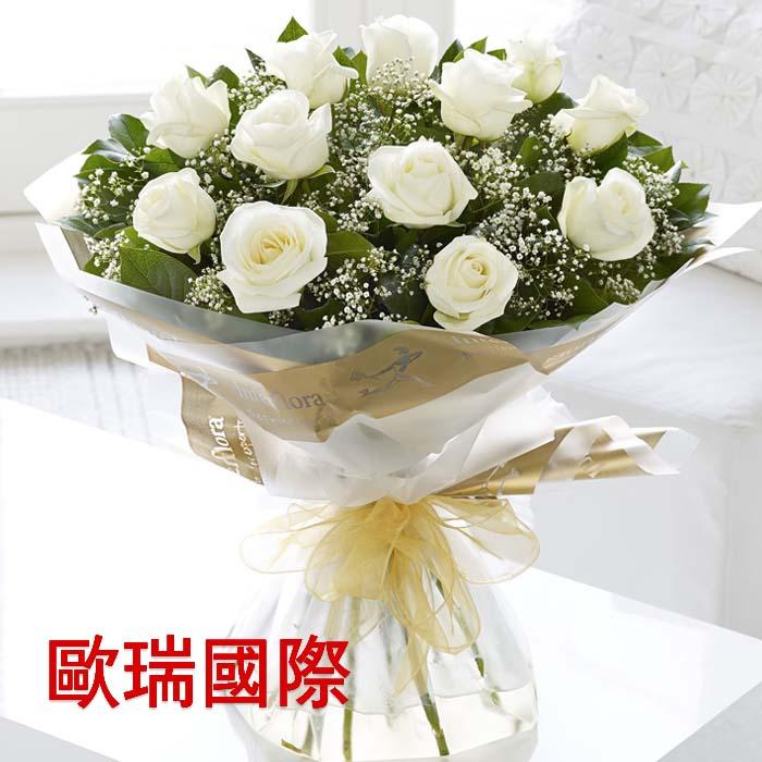 12支白玫瑰花束 欧盟 俄罗斯鲜花配送