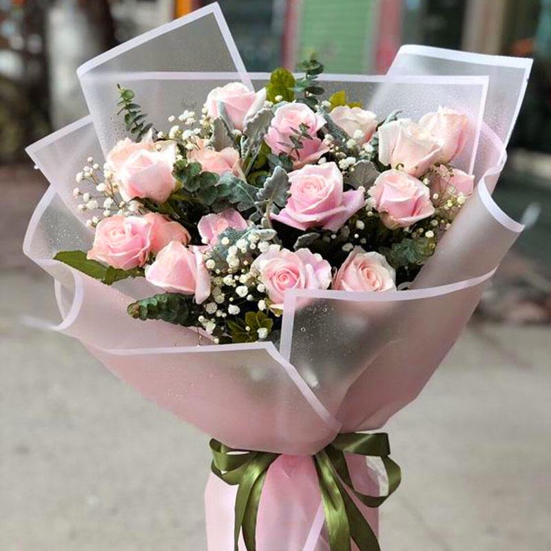 19支粉玫瑰花束 欧盟 俄罗斯鲜花配送