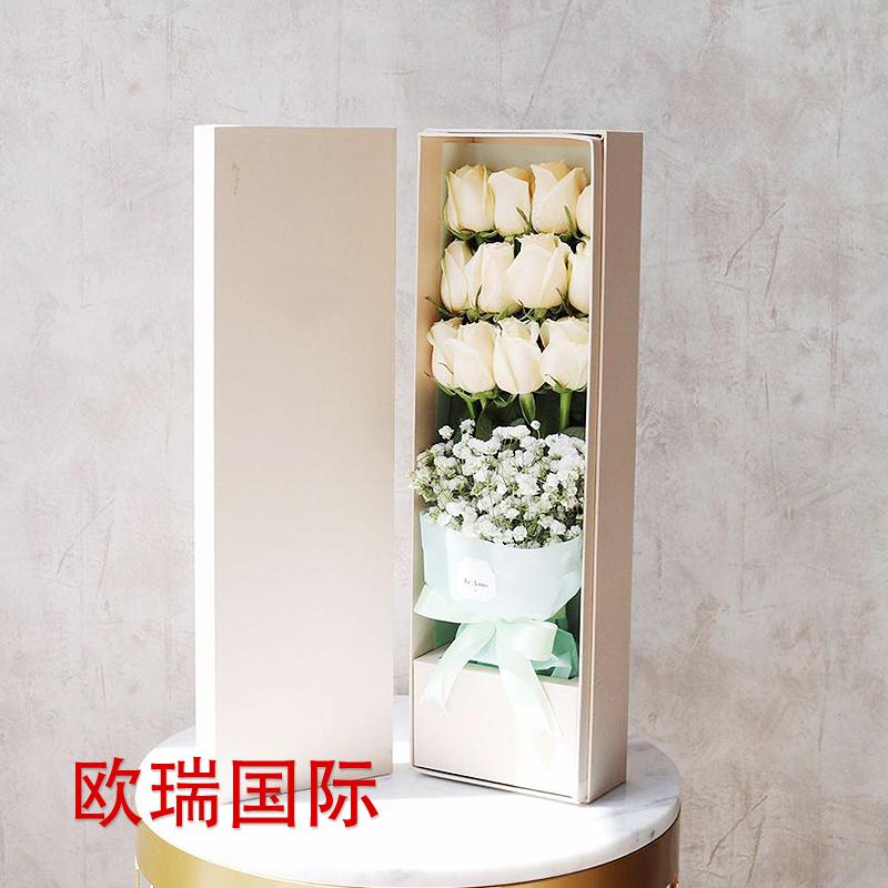12支长款盒装白玫瑰 新加坡鲜花速递 马来西亚 泰国 越南