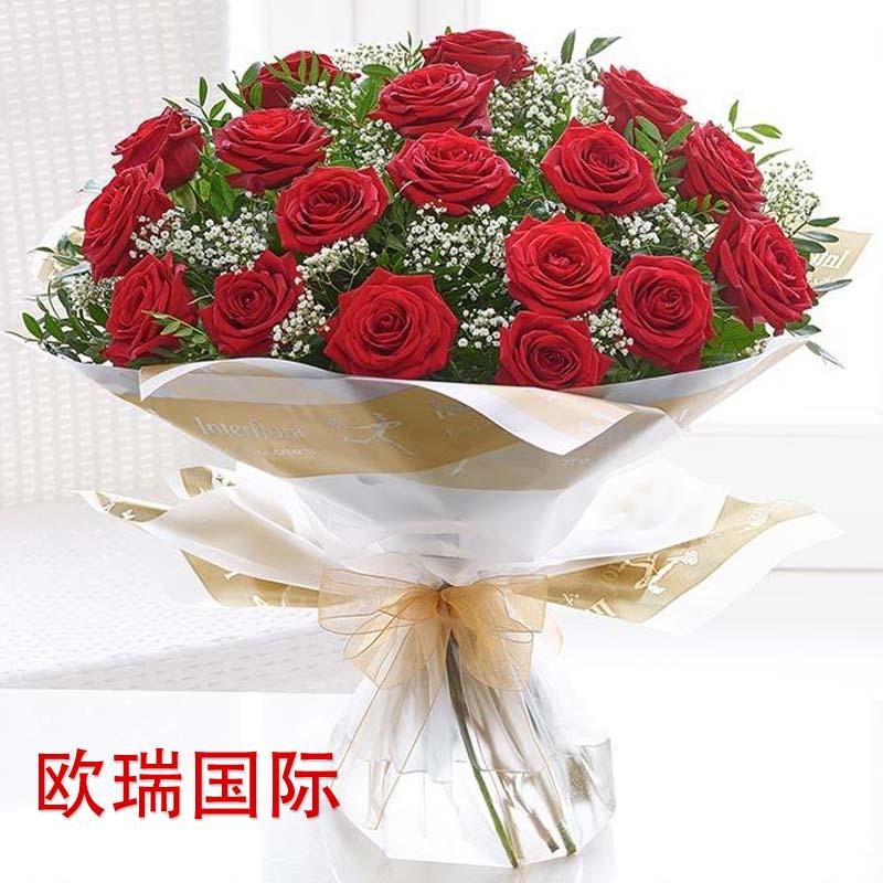 24支红玫瑰花束 欧盟 俄罗斯鲜花配送