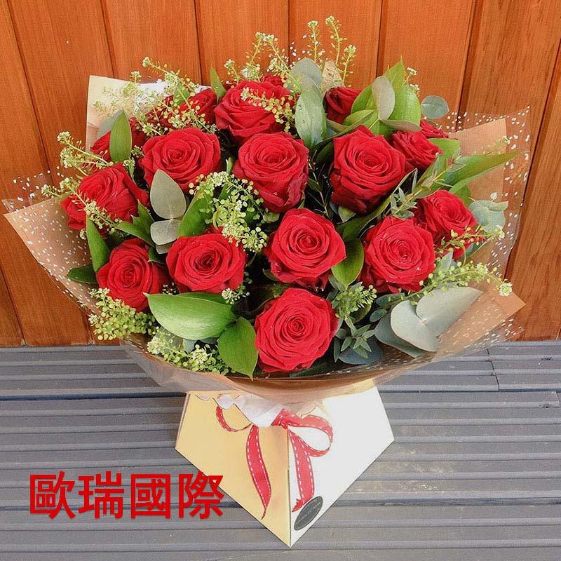 19支红玫瑰花束 欧盟 俄罗斯鲜花配送