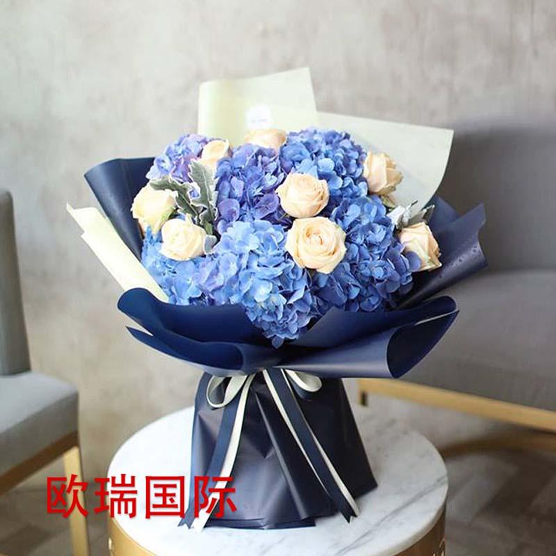 玫瑰绣球混搭花束 新加坡 泰国 马来西亚 印尼 菲律宾 越南 老挝 柬埔寨送花印度 巴基斯坦